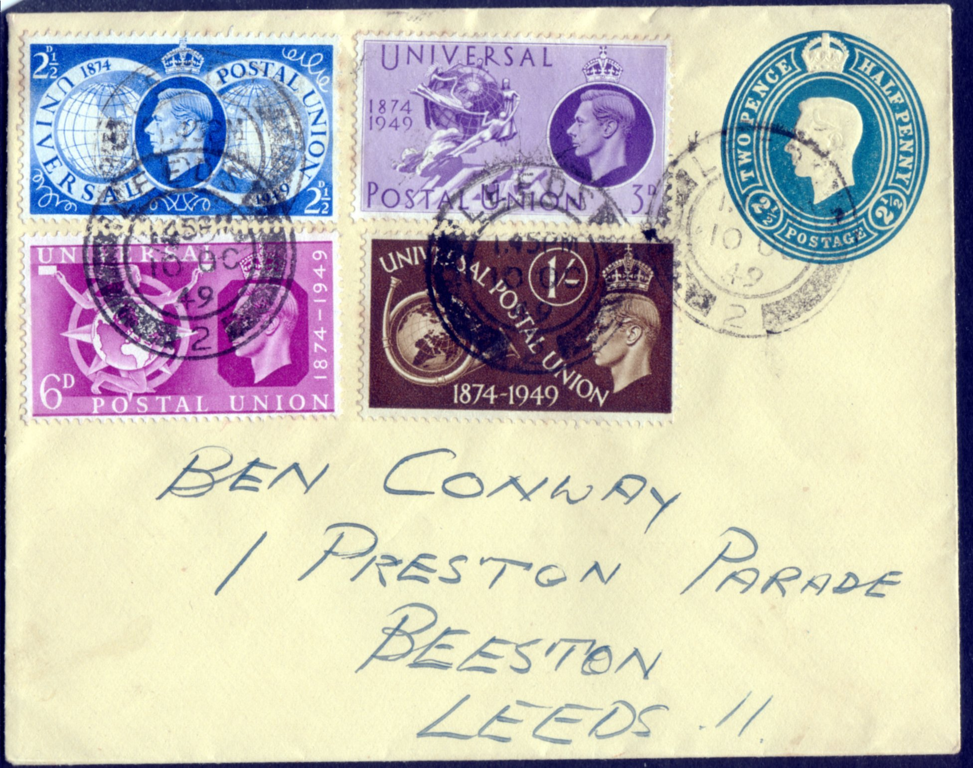 1949 UPU FDC 10.10.49 ON 2½d PRE-PAID ENVELOPE