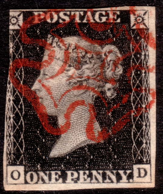1840 1d Black Plate 1b Lettered OD Burr Rub Variety - SOLD