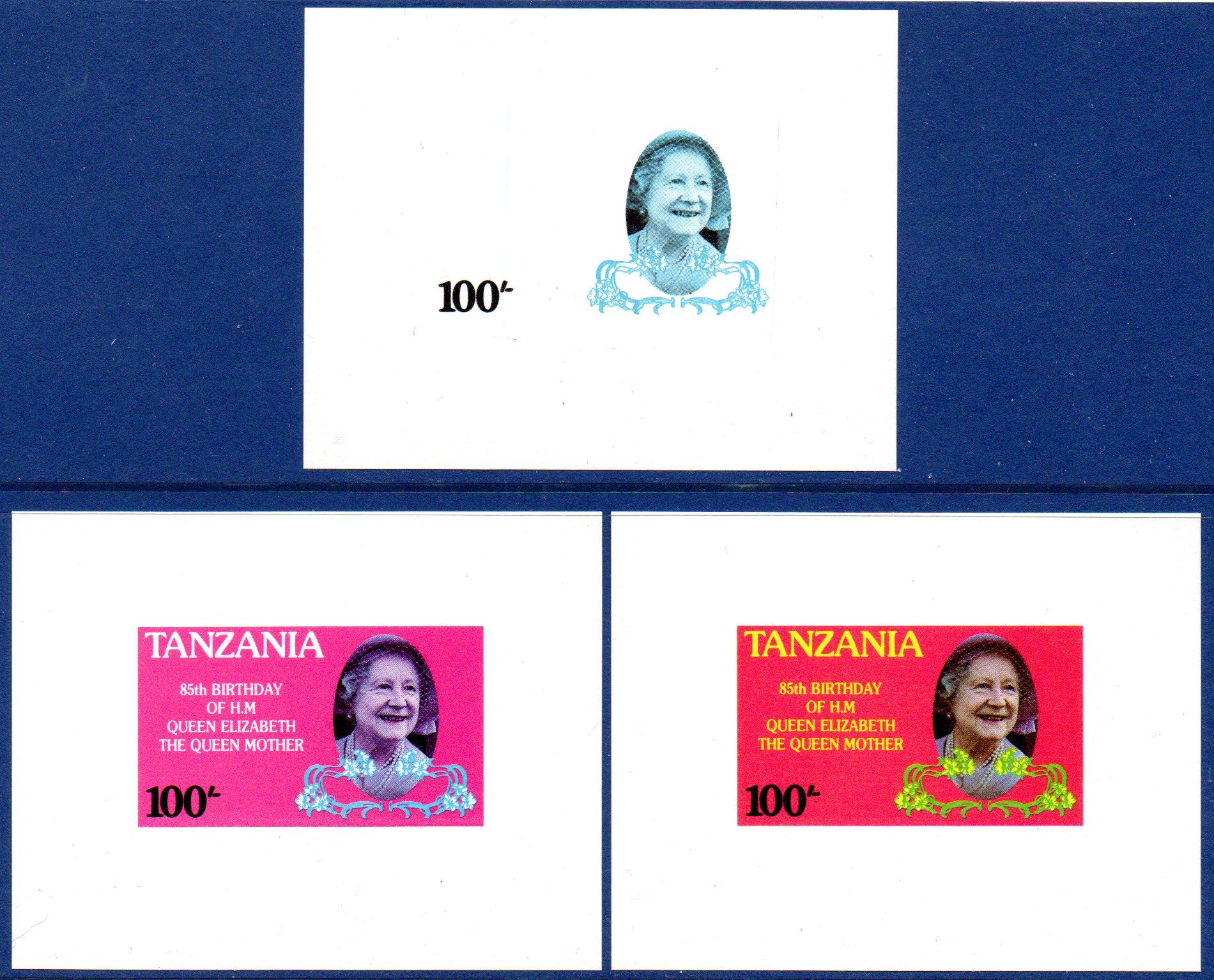 TANZANIA 1985 100s Progressive Proofs (3) Celebrating 85th Birthday Queen Mother