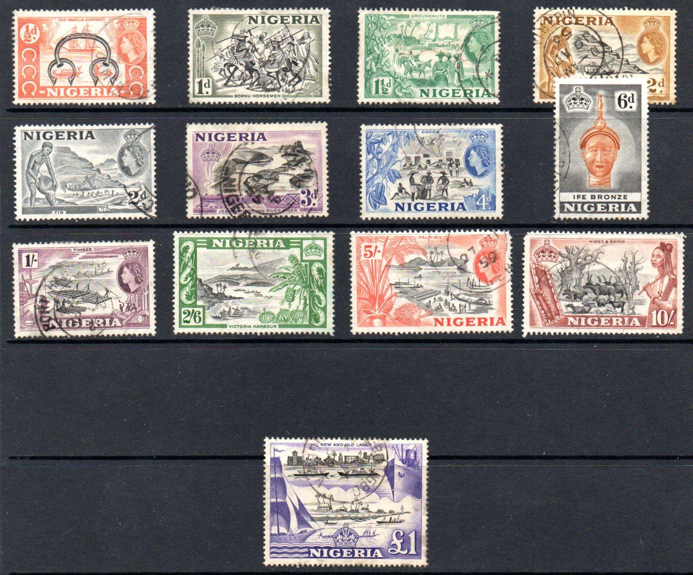 NIGERIA 1953/8 set (13 Values) with VFU £1 Black and Violet VFU - SG 69/80 SOLD