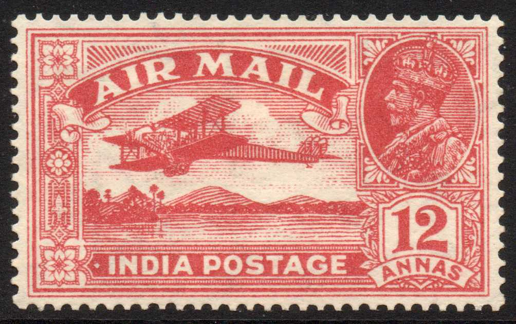 India 1929 12a Rose-red Air Mail