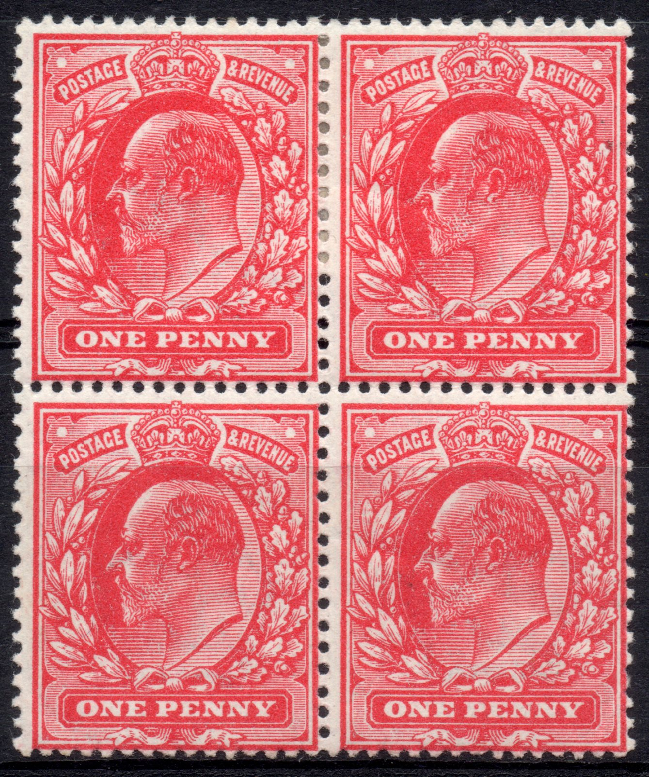1911 1d Harrison Rose-red Perf 15 Mint Block of Four