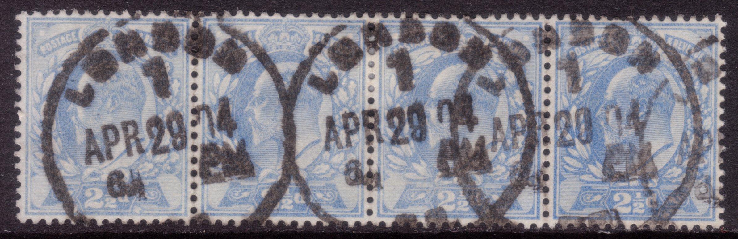 1902 2½d Pale Ultramarine Scarce Used 'London 1' Skeletons Strip of Four