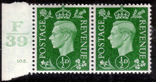 ½d Green UM Pair Control F39 Cyl.105 State (iii) Dot Retouch Variety