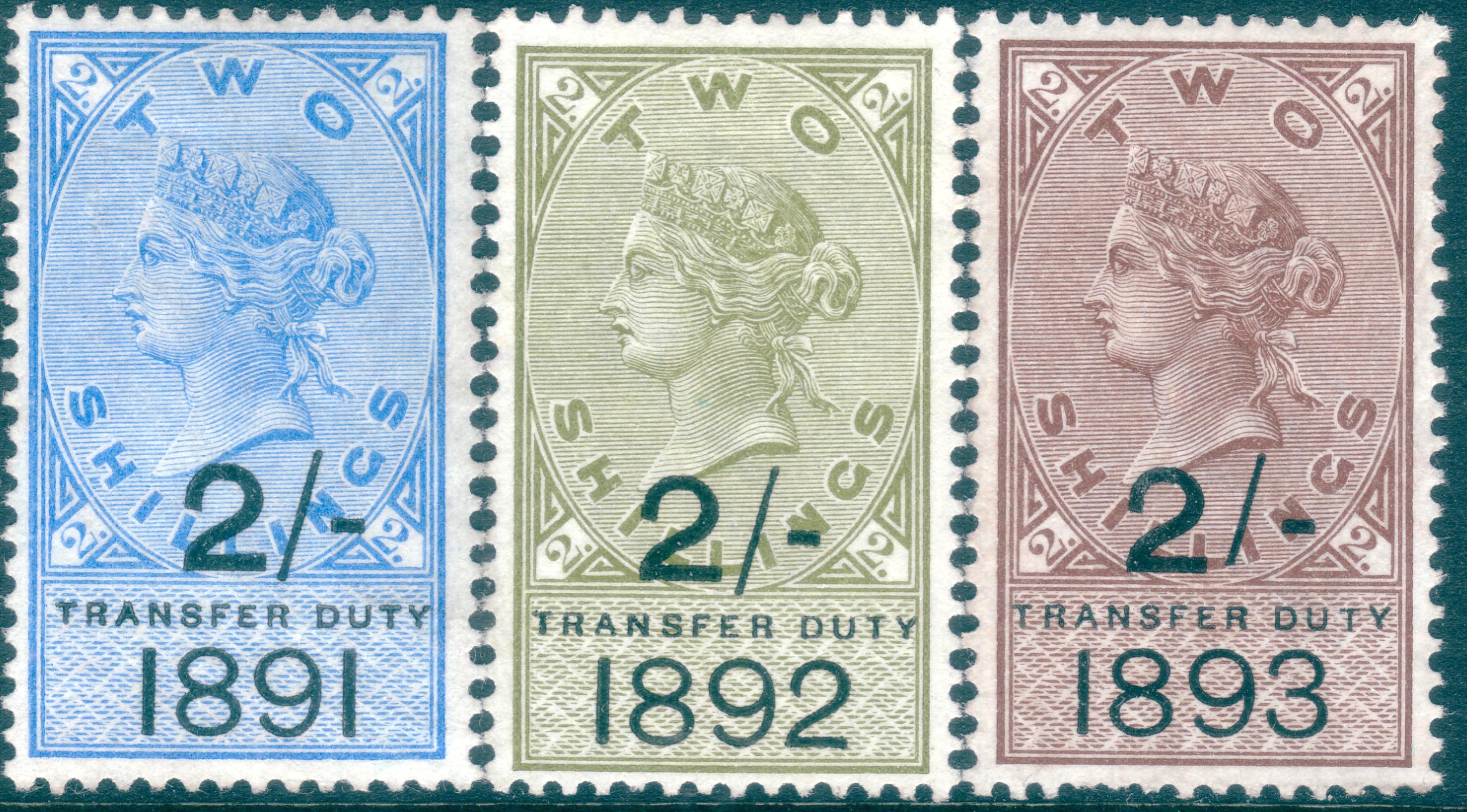 1891-1893 2s Transfer Duty Trio all Fresh Unused