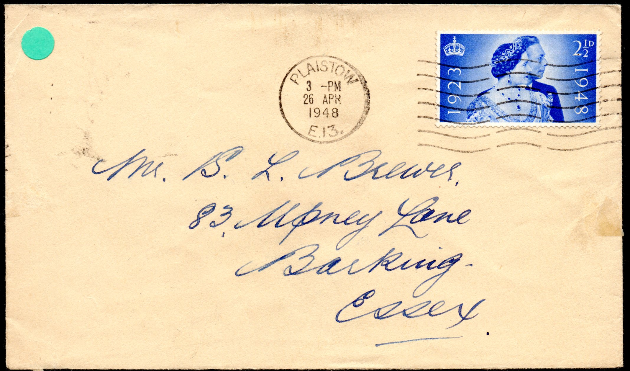 1948 Silver Wedding 2½d on Plaistow First Day Cover 26 April 1948