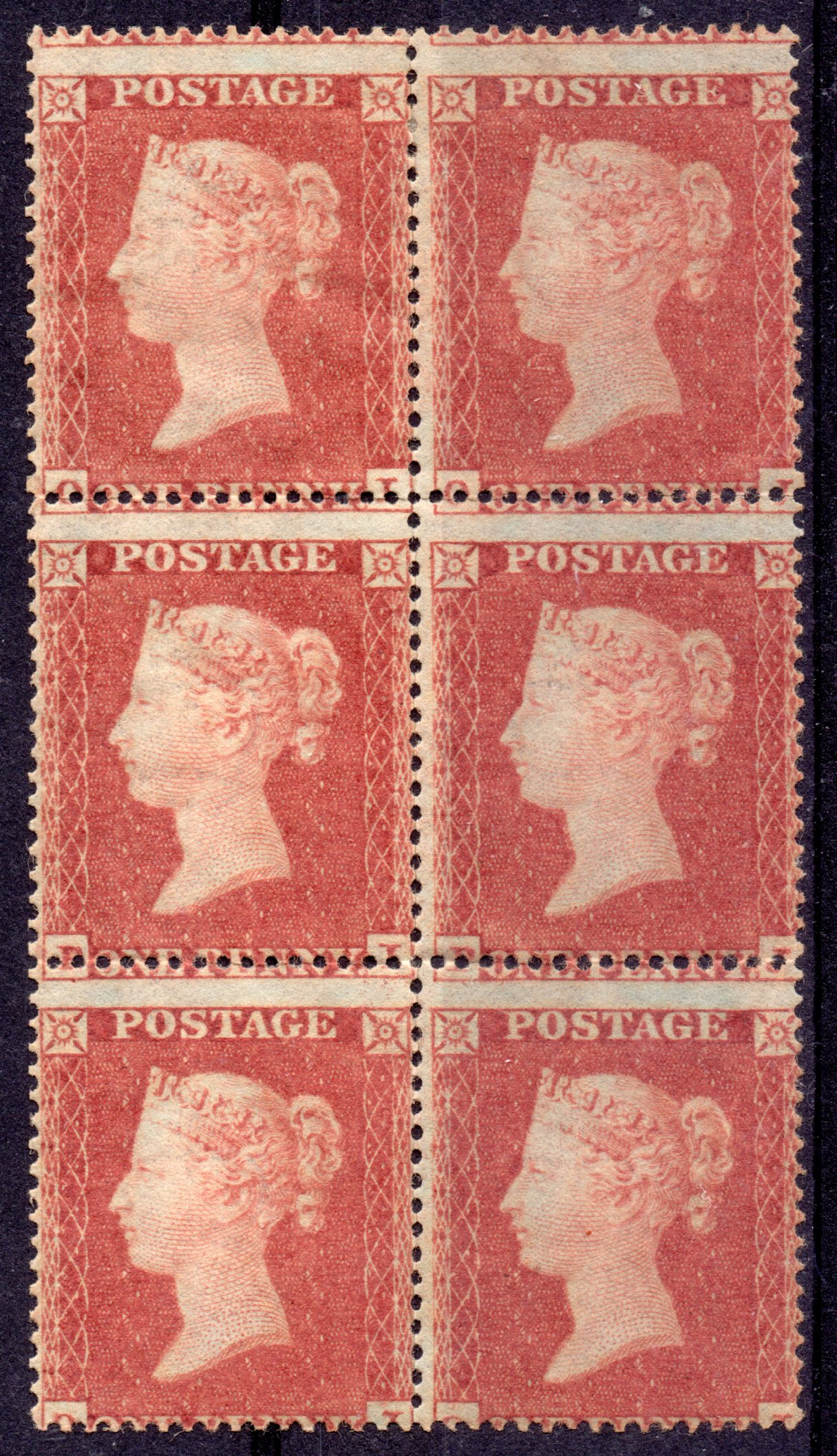 1854 1d Red-brown UMM Block of Six - SOLD