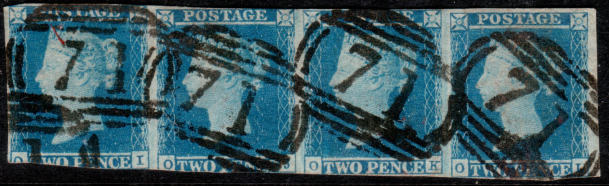1841 2d Blue Strip of Four - SOLD
