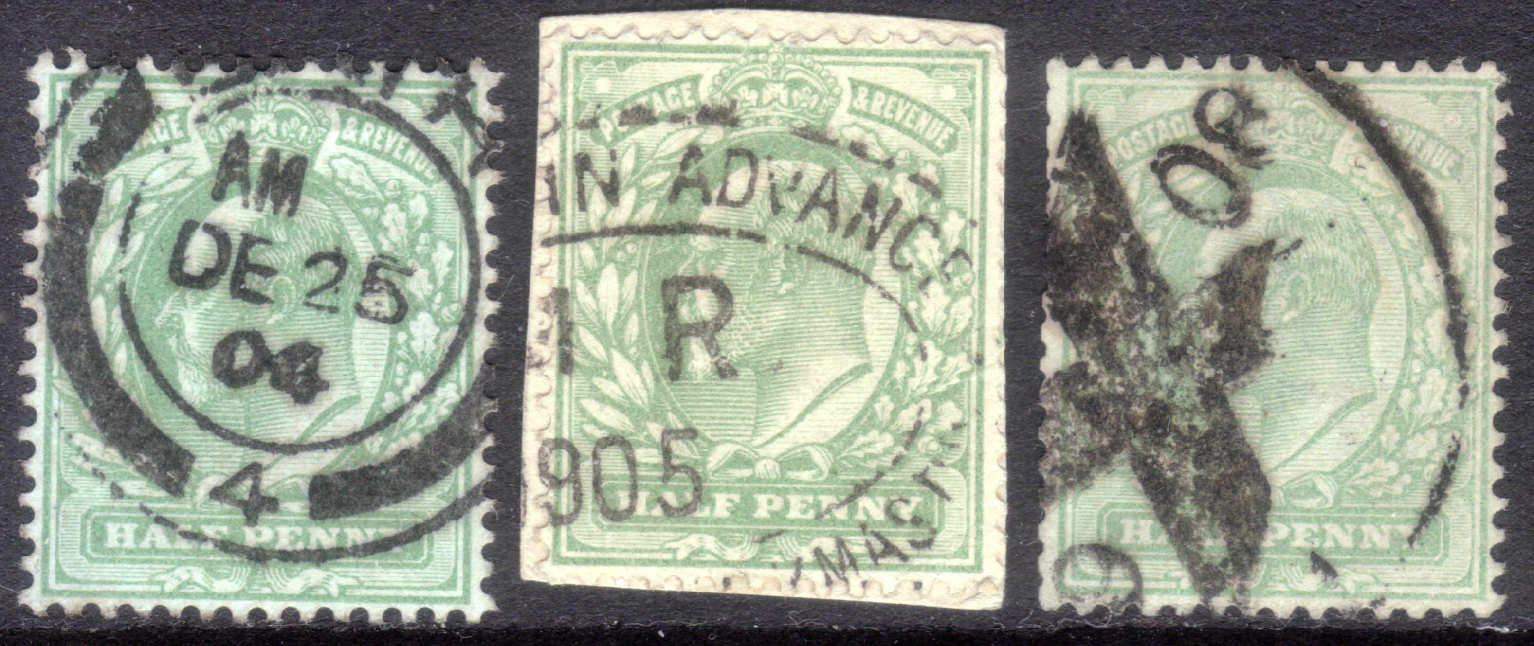 1904-08 ½d Yellowish Green Xmas Cancels