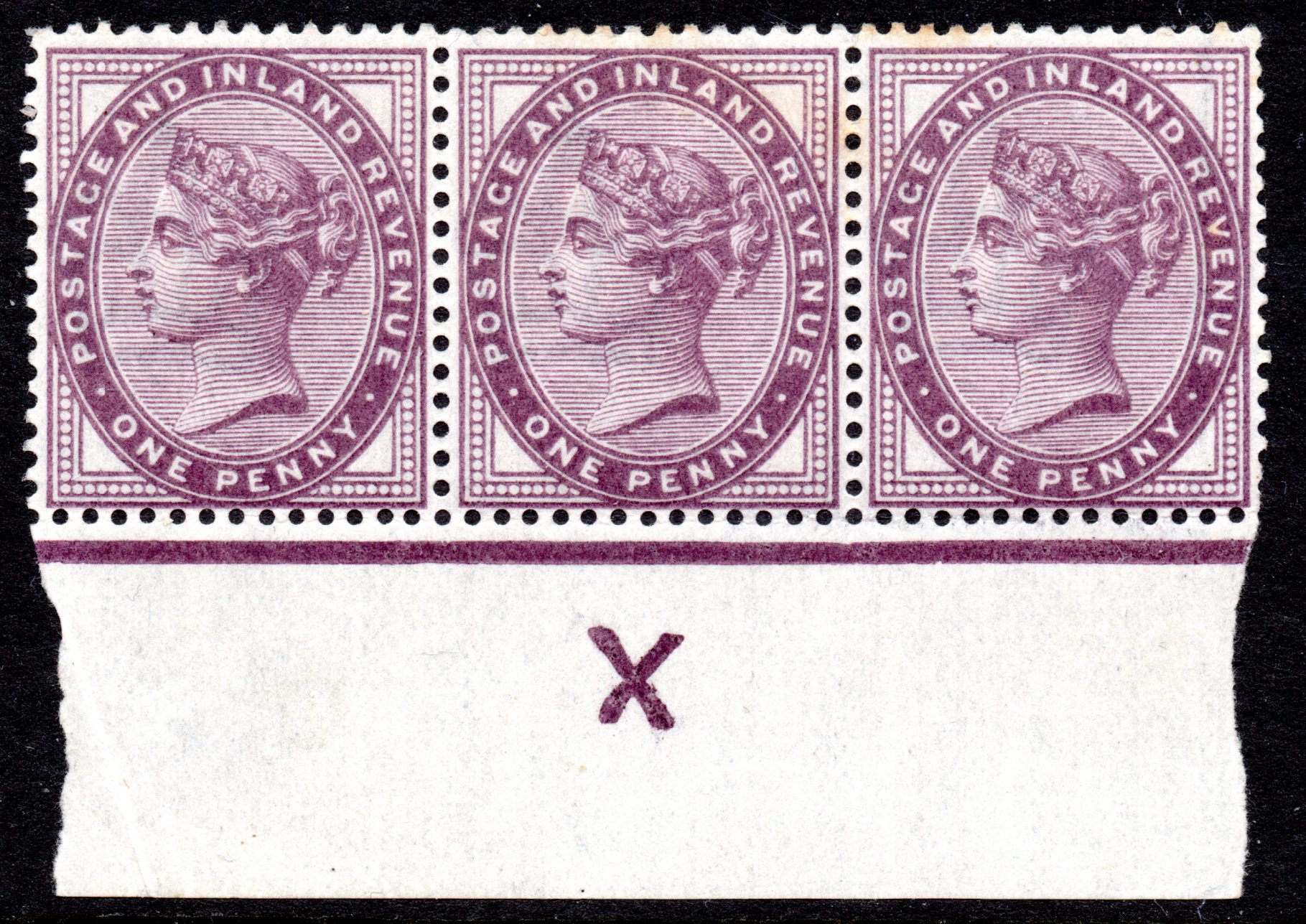 1900-1902 1d Lilac UM Strip 3 Control Inverted 'X' Spec KC53a