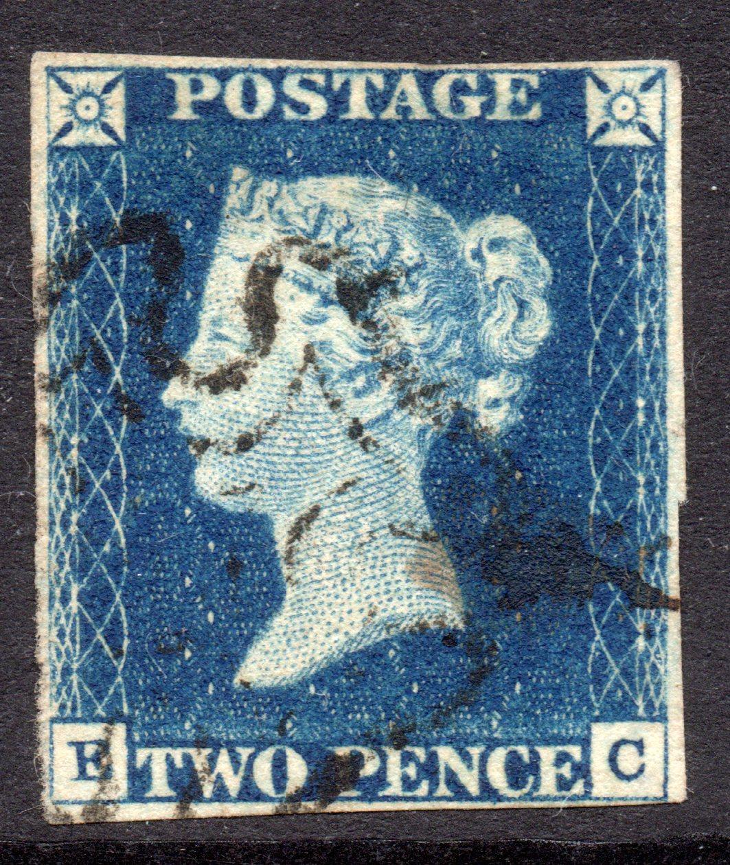 1840 2d Blue Plate 1 LIGHT BLACK MX - SOLD