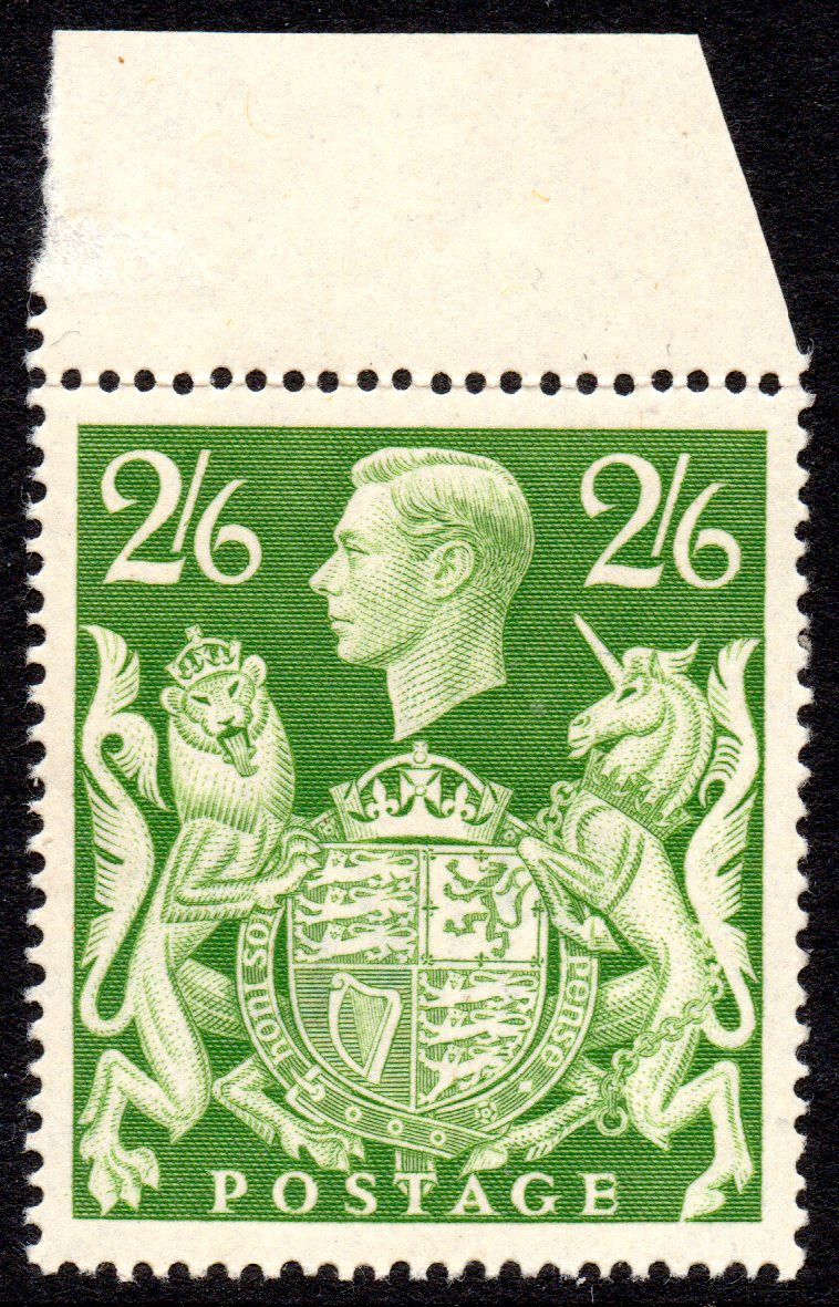1942 2s6d Yellow-green UM Marginal - SOLD