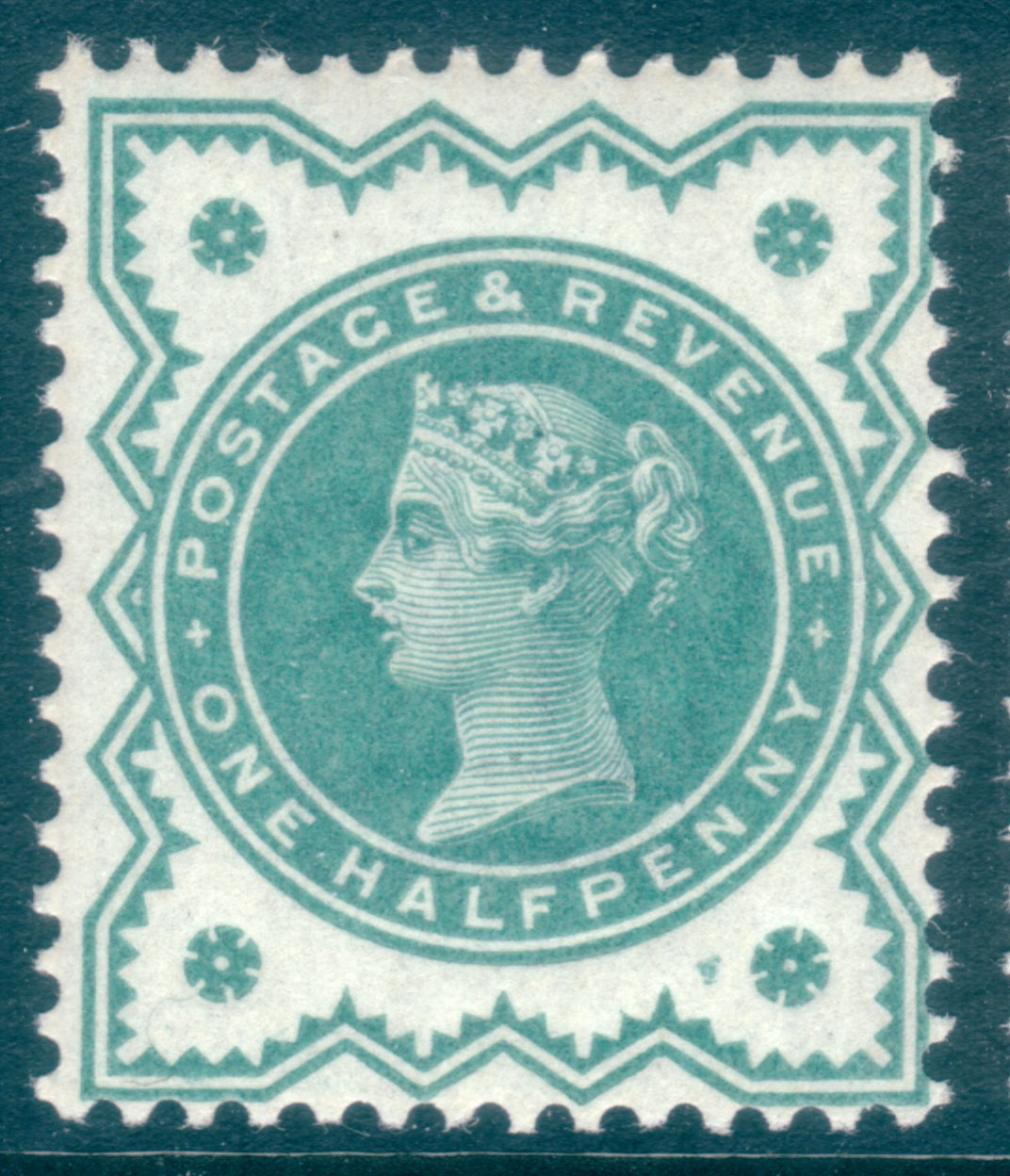 1900 ½d Blue-green UM Extra Ink & Inner Oval Cracked Plate Variety