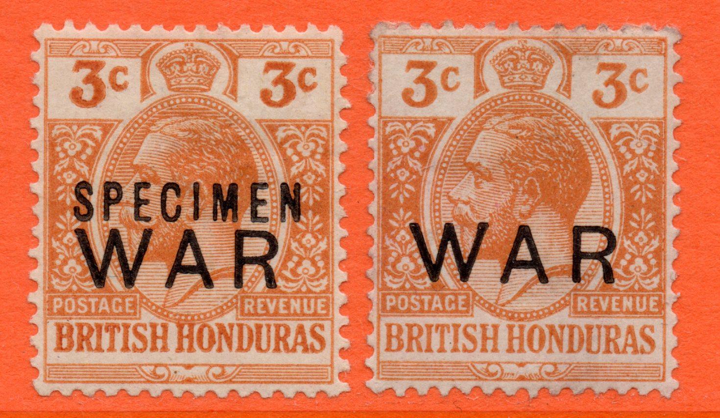 British Honduras GV 1918 3c Orange WAR Ovpt SPECIMEN c/w Ordinary SG120s