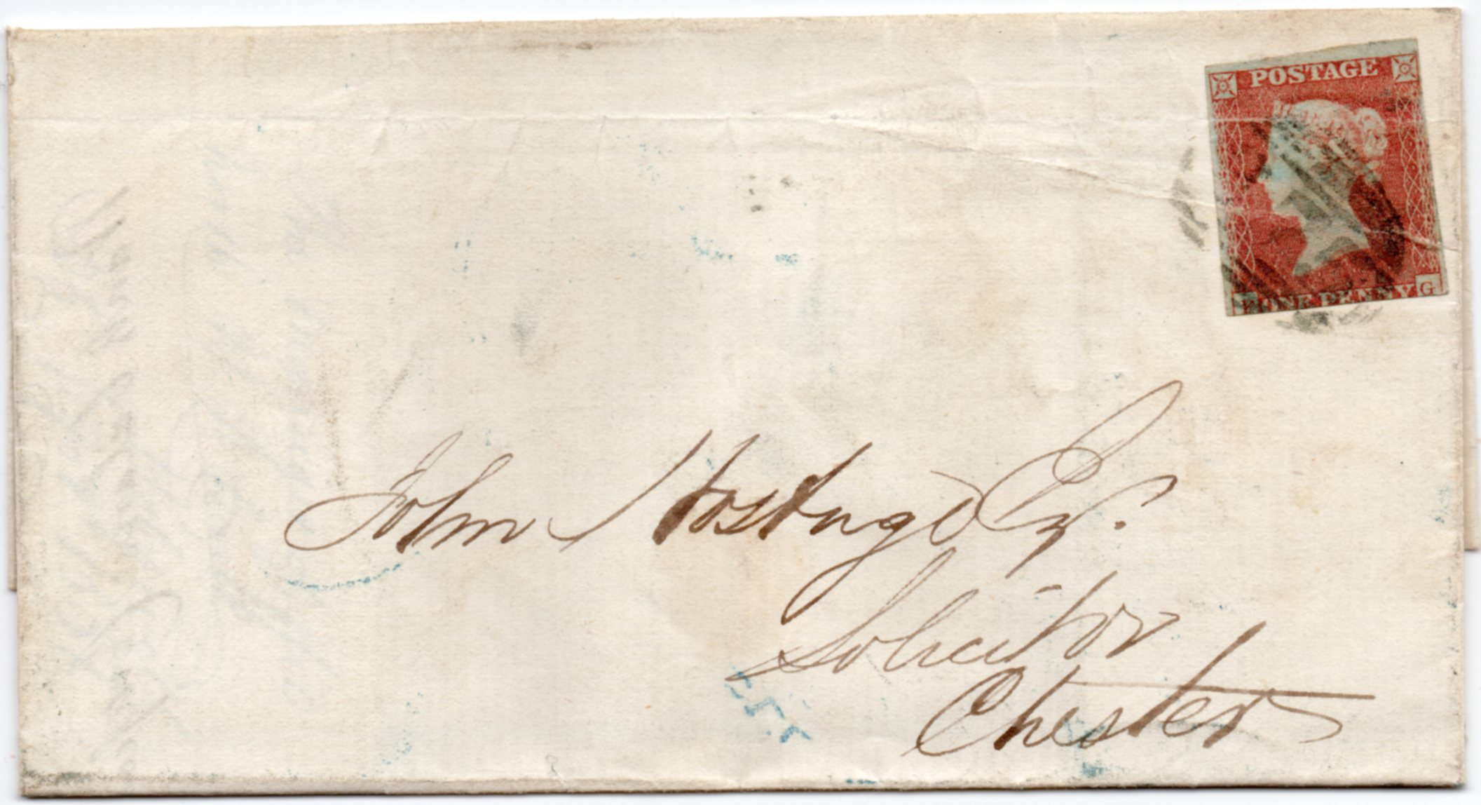 1851 1d Red Imperf Cover Dull Blue-green shade Cancellation