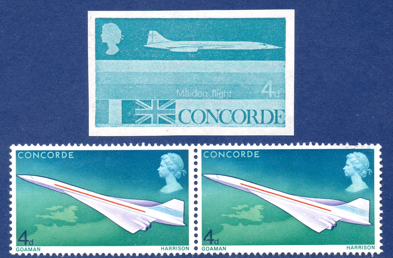 1969 4d Concorde Imperf Unissued Proof Unmounted Mint c/w 4d Issued Design