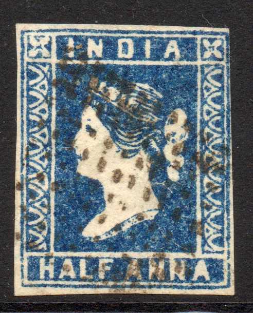 India 1854 Half Anna Indigo Die II Lightly Used