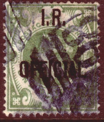 1889 1s Dull Green IR OFFICIAL BLUE CANCEL