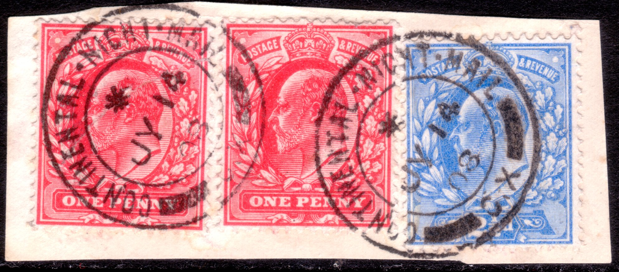 1908 DLR 1d Pair & 2½d Continental Night Mails CDSs - SOLD
