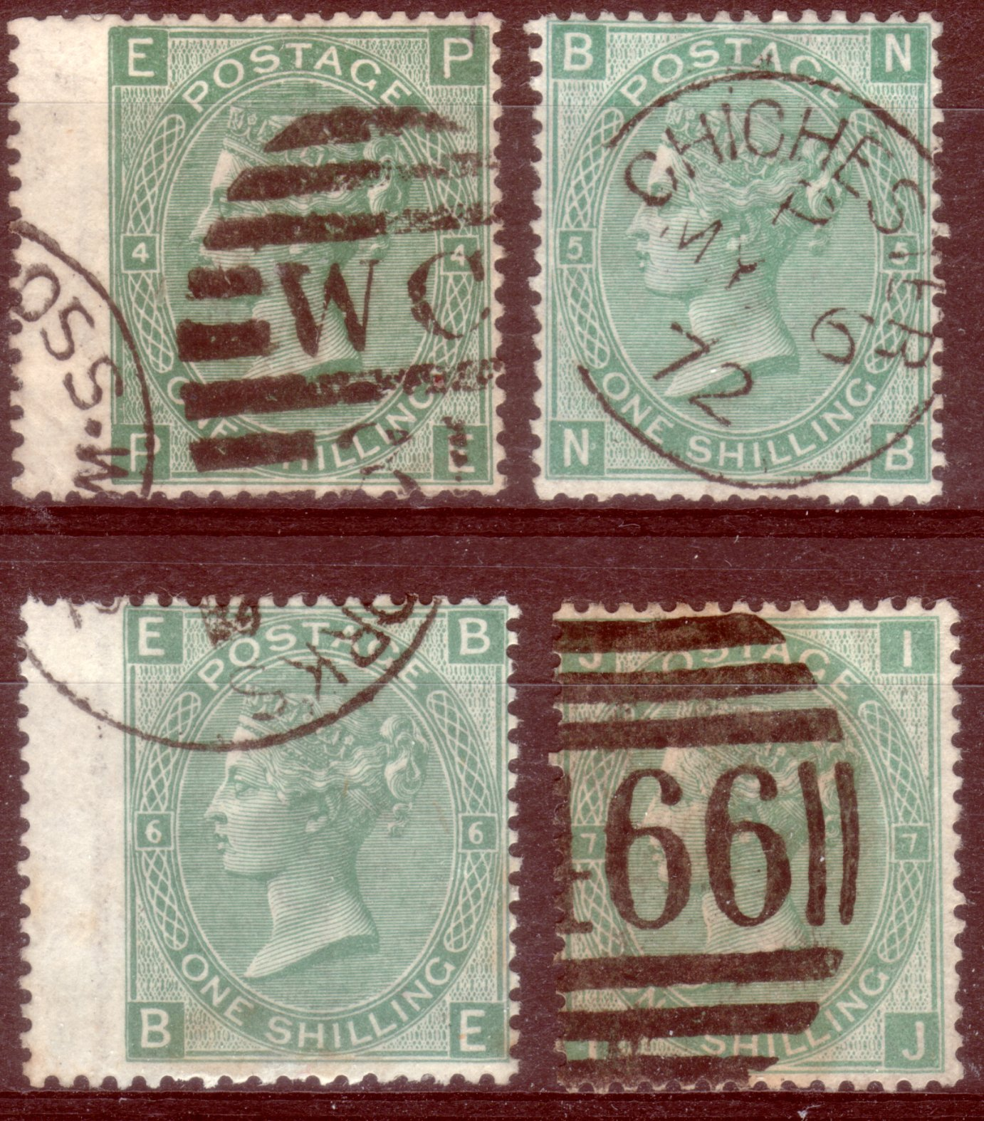 1867-73 1s Green Set of Four Plates 4 to 7 - SOLD