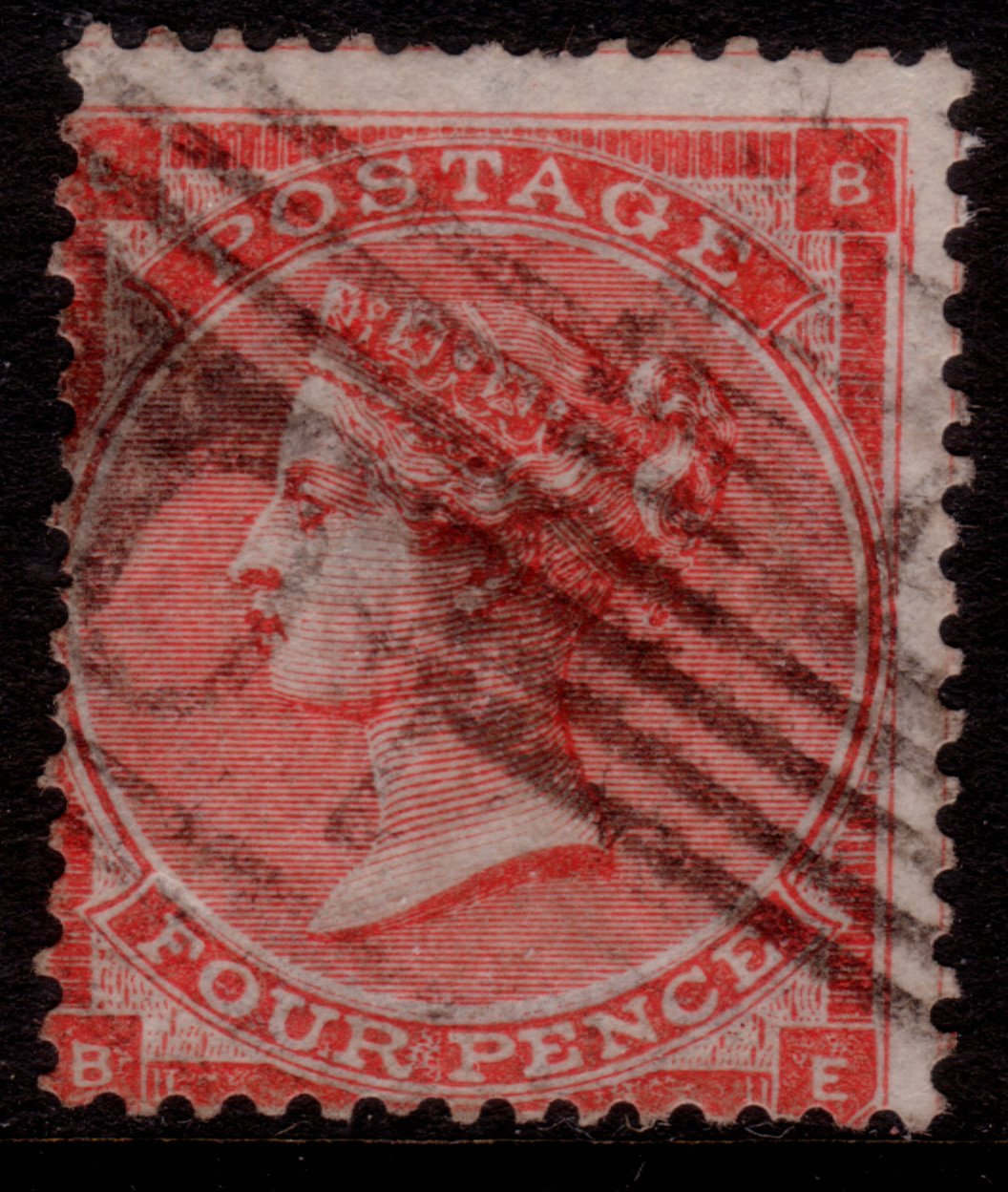 1863 4d Red Plate 4 Variety