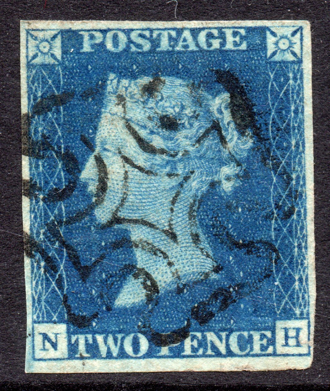 1840 2d Blue Plate 2 - SOLD