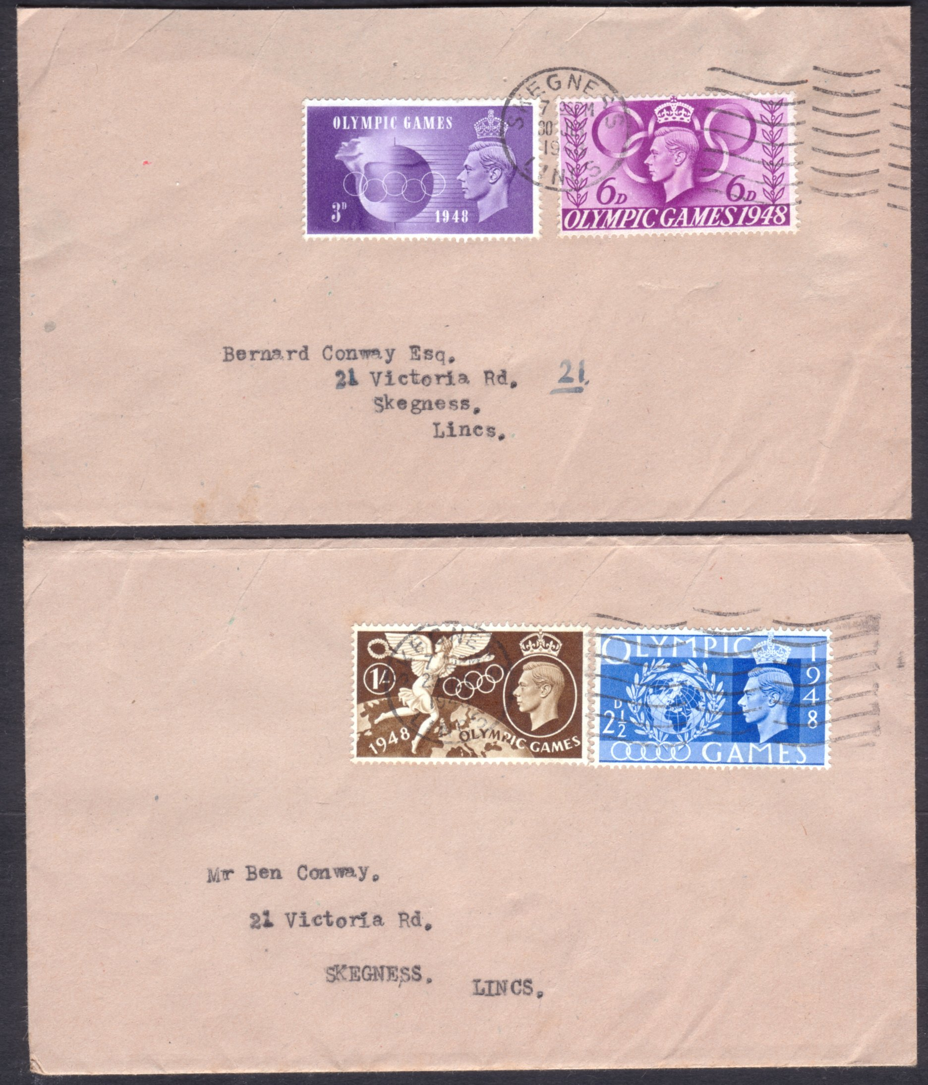 1948 OLYMPIC GAMES SET OF FOUR ON 1st & 2nd DAY TYPED ADDRESSED COVERS