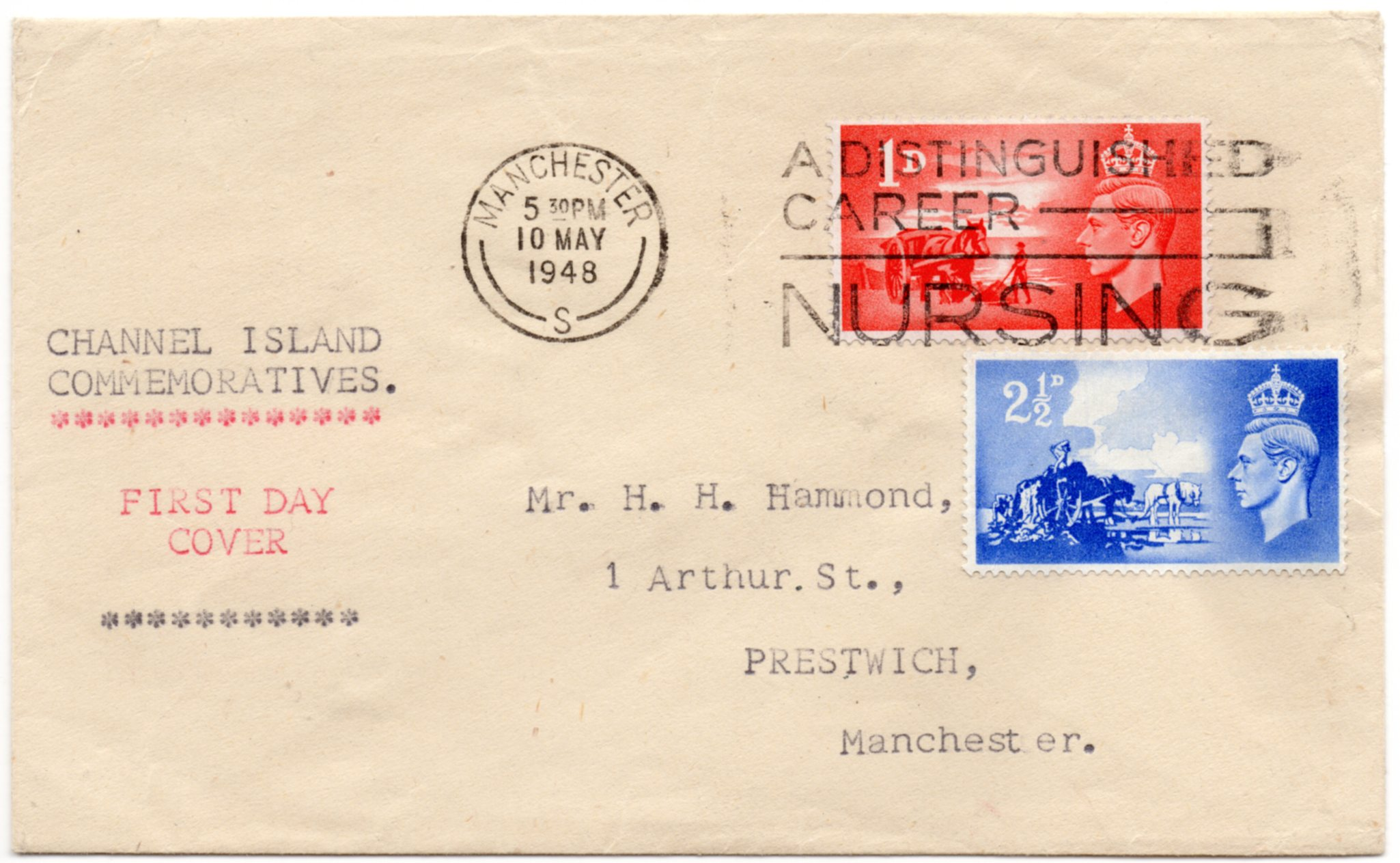 1948 CHANNEL ISLANDS TYPED FIRST DAY COVER TO MANCHESTER