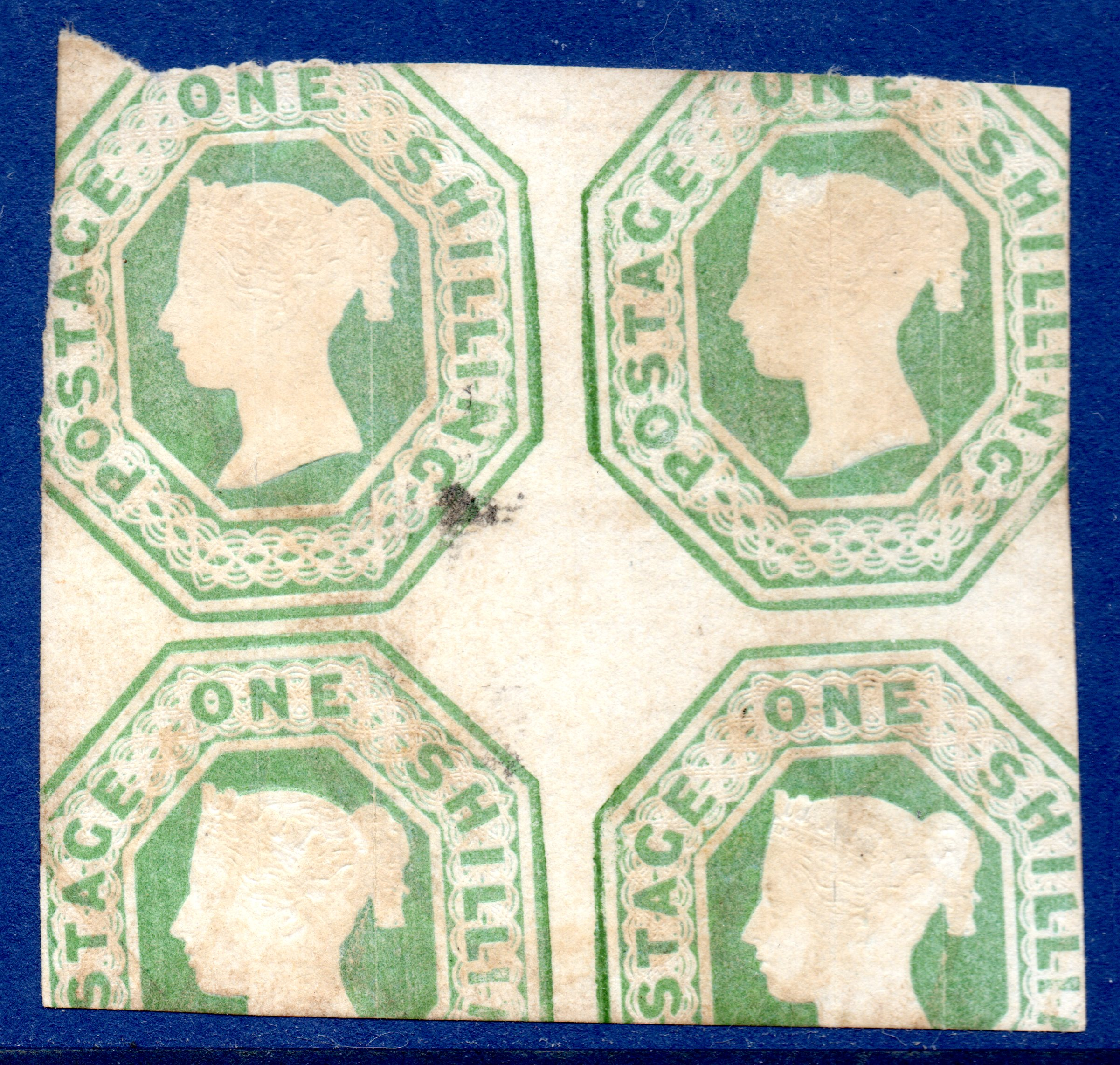 QV 1s Green Embossed Unused Block of Four - Scarce - Enormous Catalogue Value - SOLD
