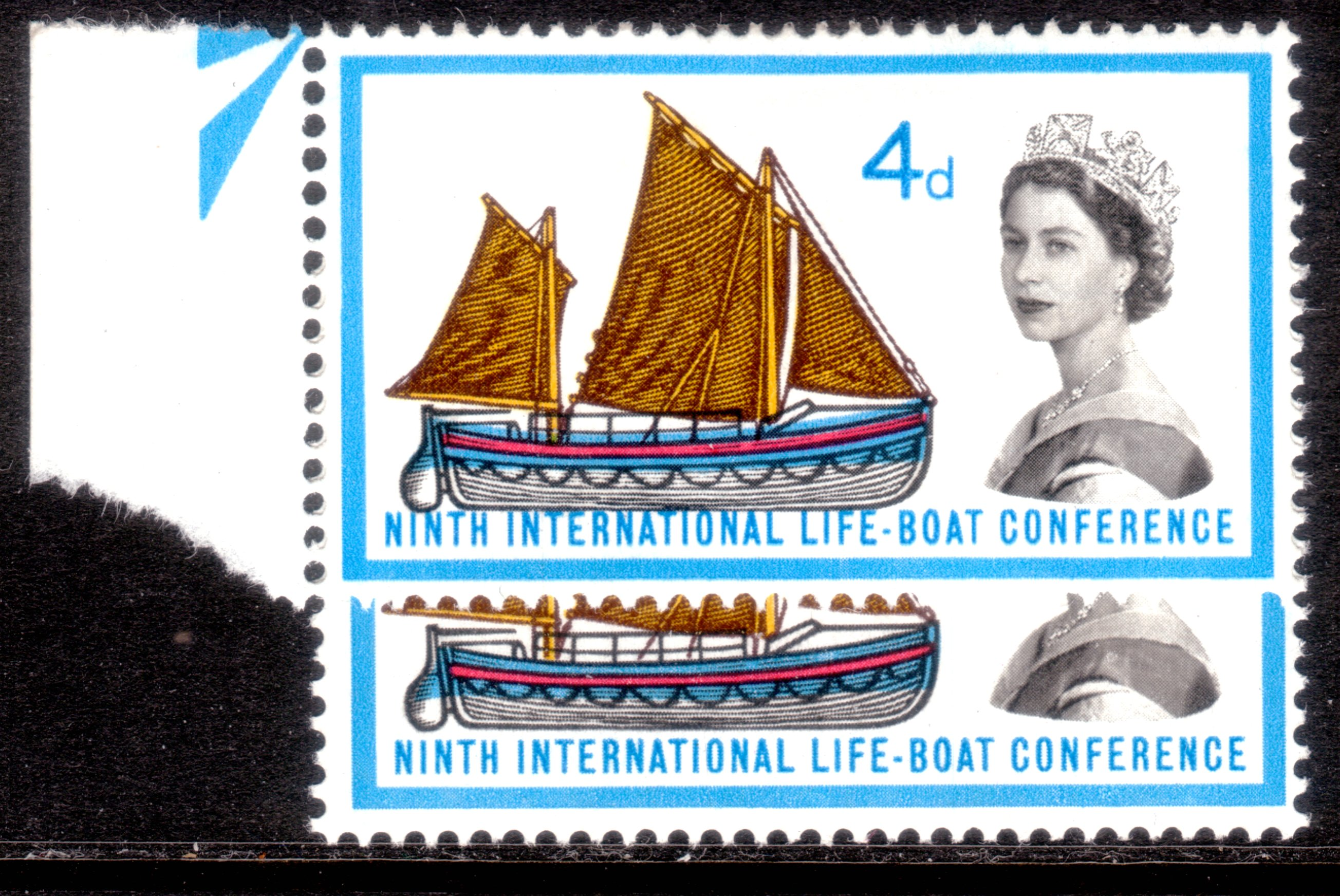 1963 4d LIFEBOAT CONFERENCE MARGINAL MINT WITH BLUE & RED SHIFT VARIETY UPWARD