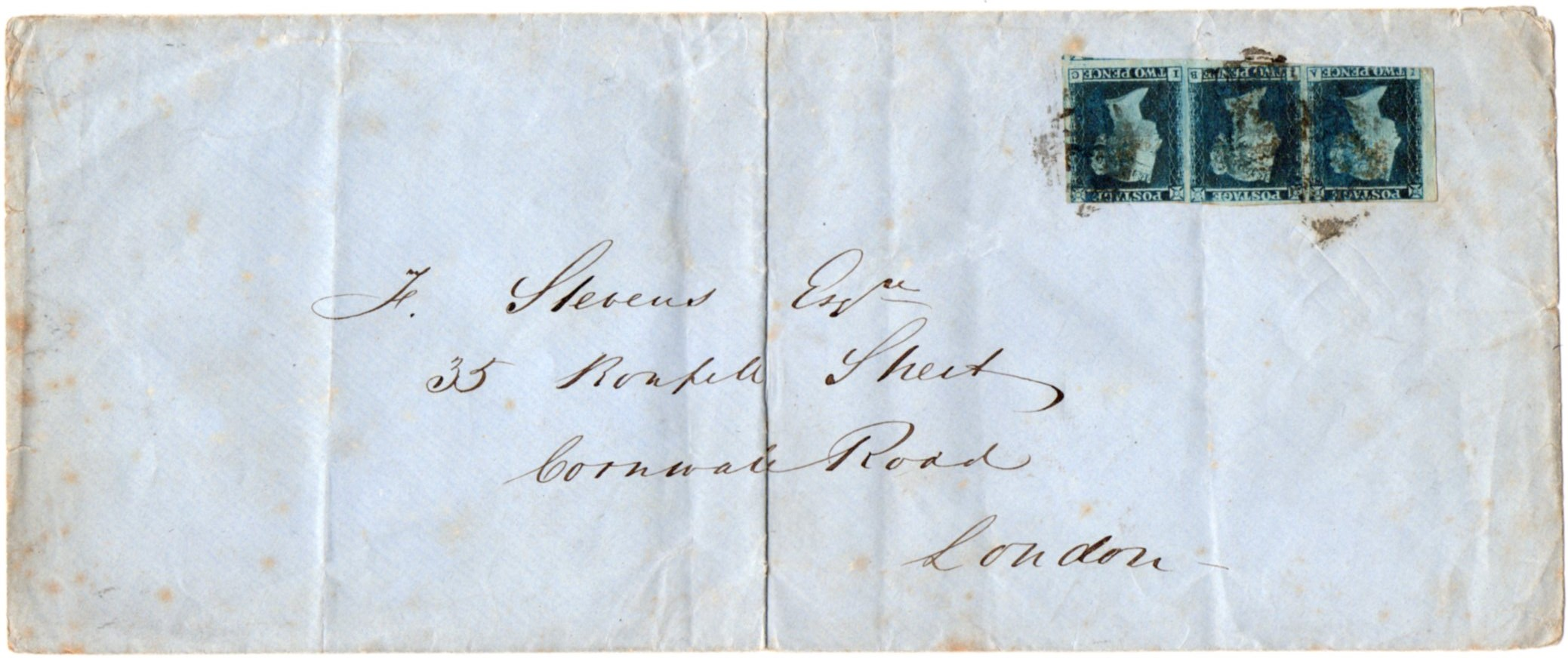 1841 2d blue strip of three on cover