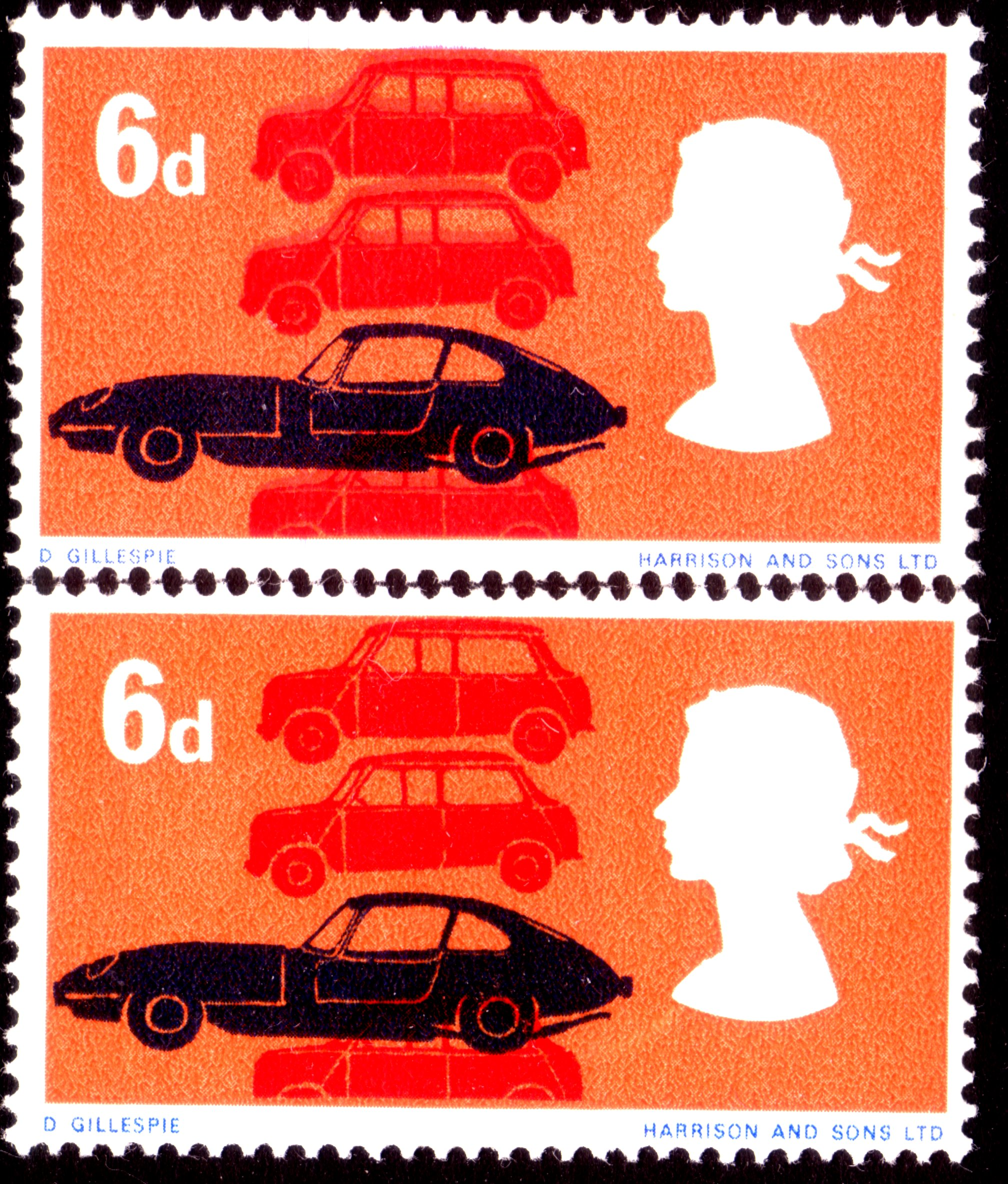 1966 6d ORDINARY PAPER BRITISH TECHNOLOGY FRESH MOUNTED MINT MINIS DOUBLED UNLISTED VARIETY - SOLD
