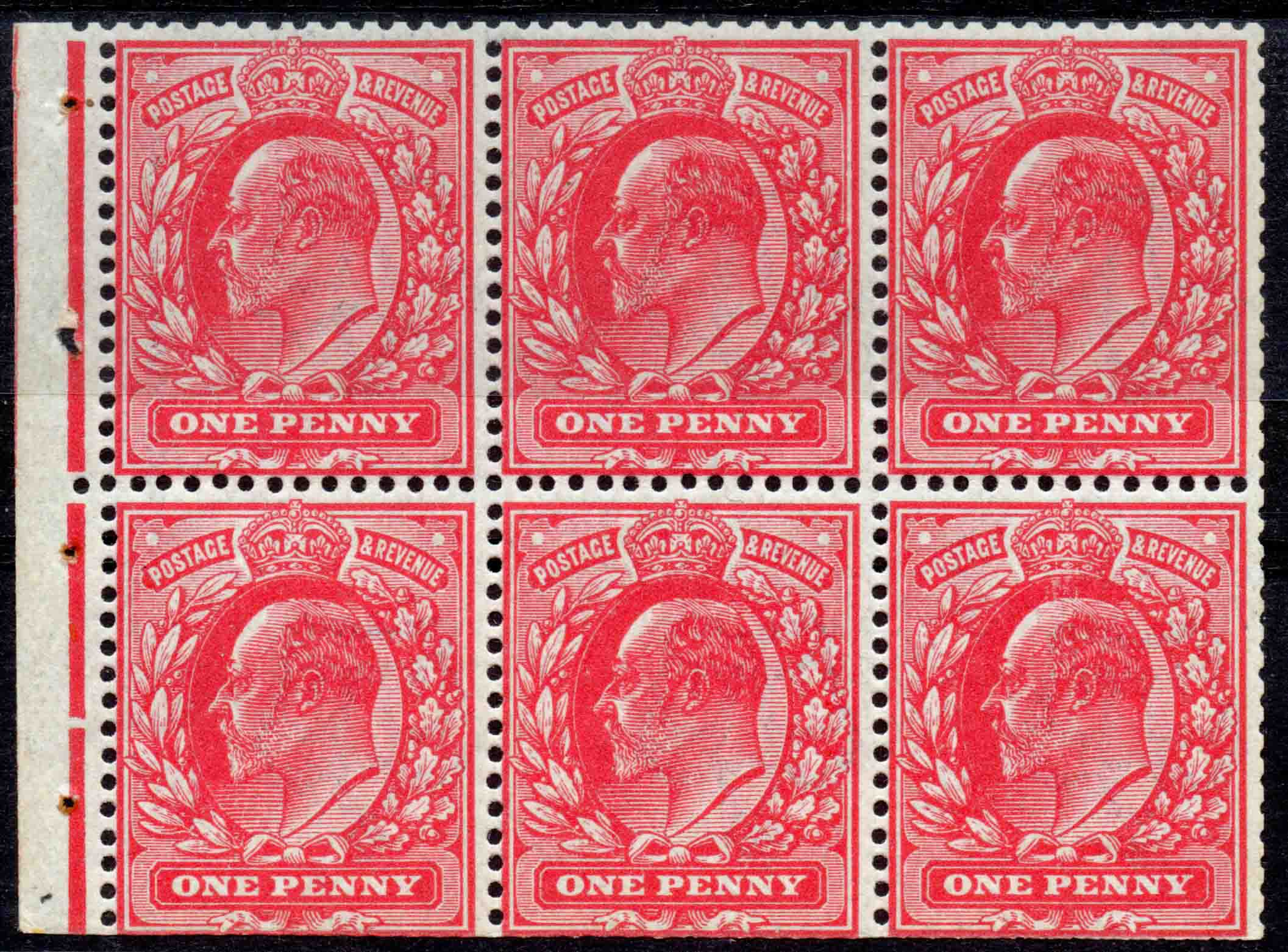 1911 1d Harrison Rose-carmine Pane of Six WATERMARK INVERTED