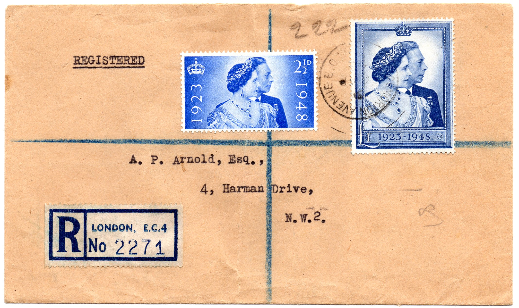 1948 Silver Wedding Registered First Day Cover 26 Ap 1948