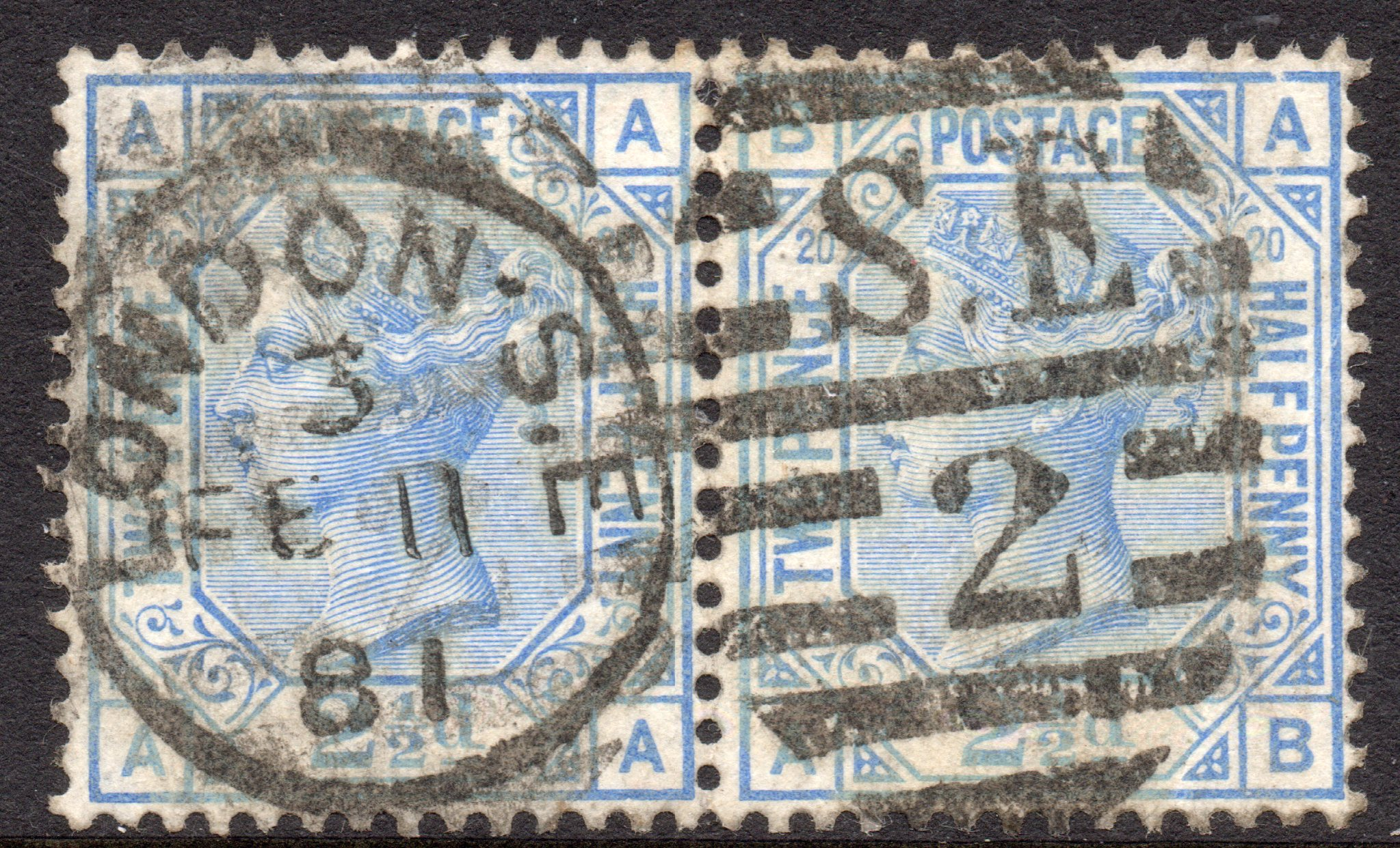 1880 2½d Blue Plate 20 Pair Variety - SOLD
