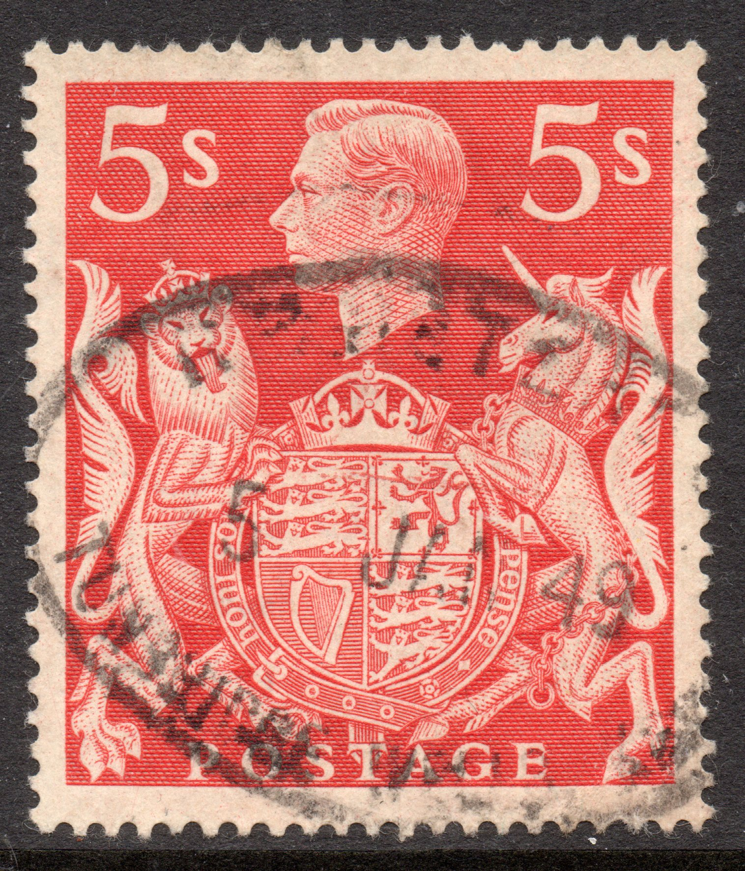 1939 5s Red Used 'Horizontal Scratch on & Left of Lion' Variety