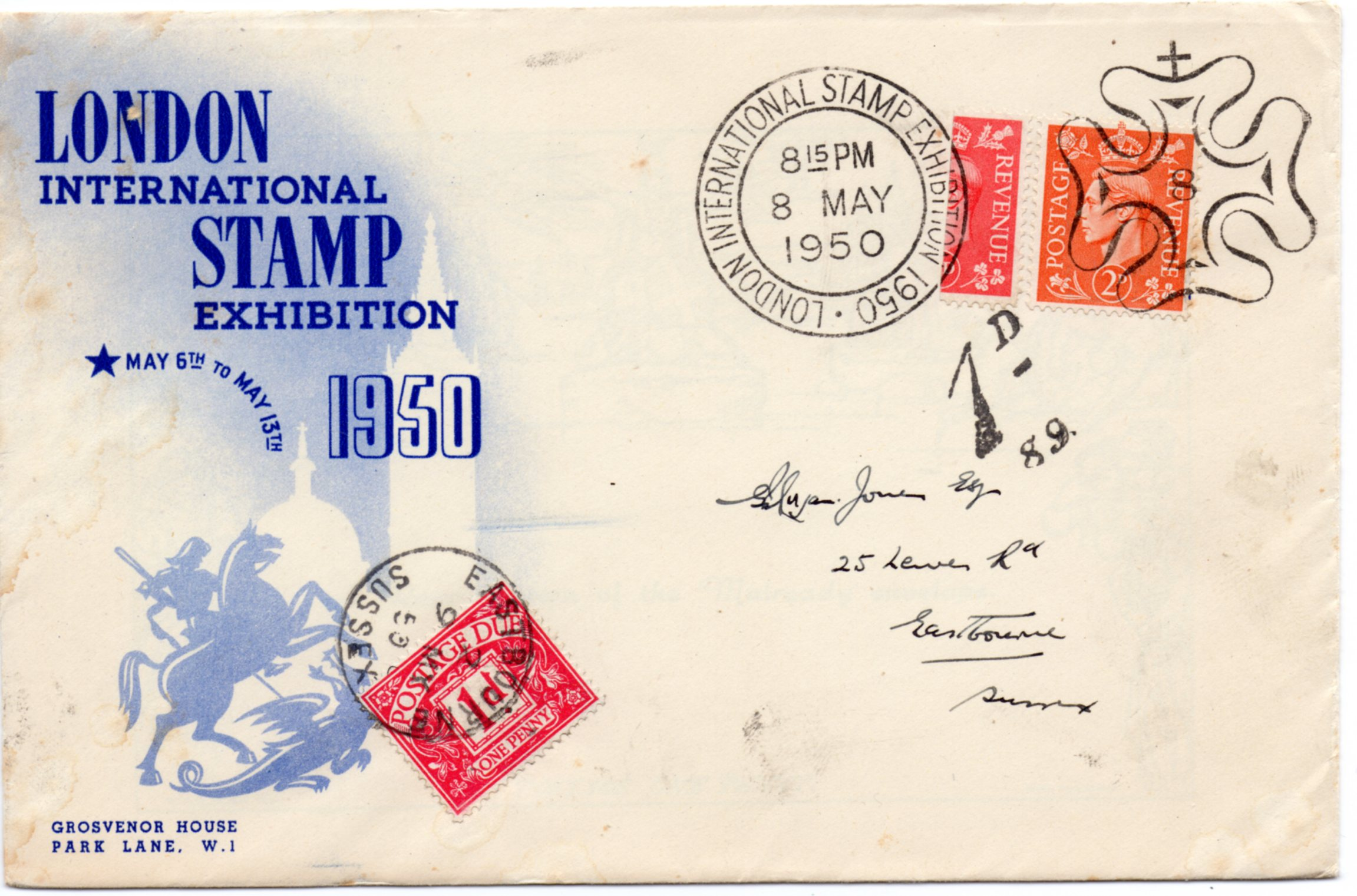 1950 LONDON EXHIBITION COVER 1d SCARLET BISECT