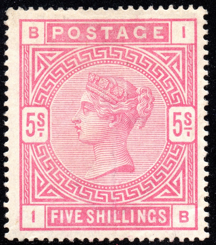 1884 5s Rose Fresh Mint 'IB' Anchor Wmk