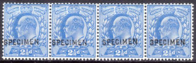 1902 2½d Ultramarine Strip of Four SPECIMEN - SOLD