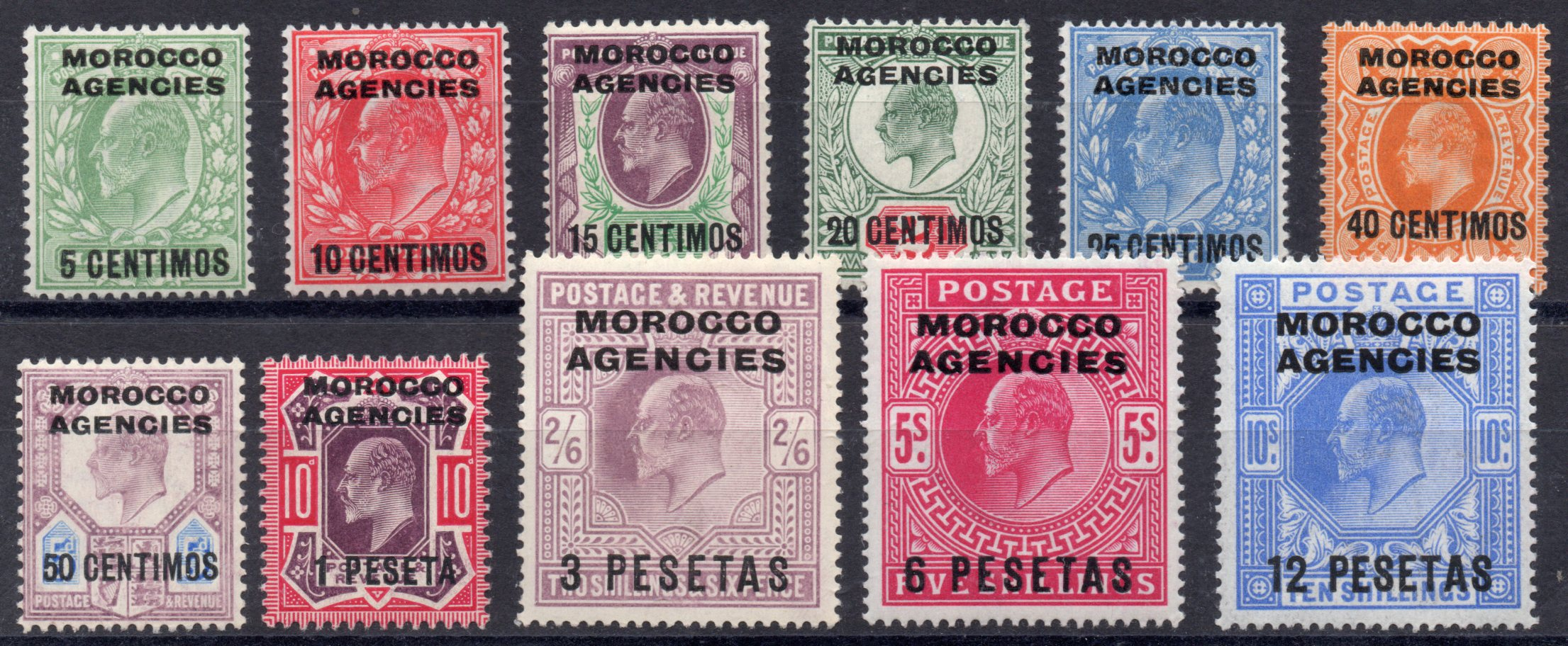 MOROCCO AGENCIES 1907 EDWARD VII SUPERB FRESH MINT 11 VALUES - SOLD