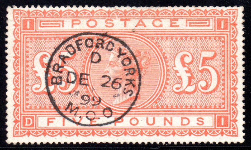 1882 £5 Orange Bradford CDS SG137 - SOLD