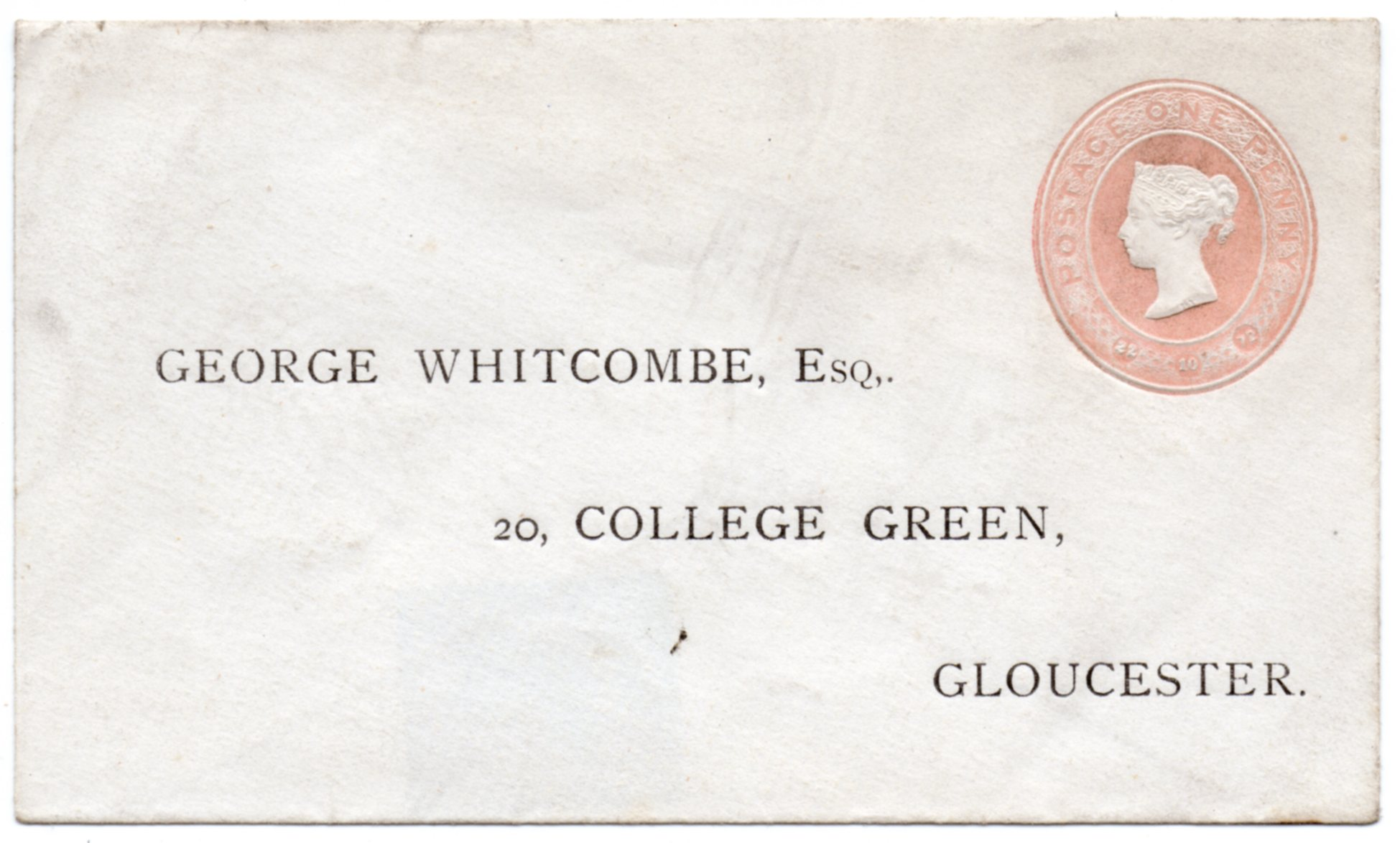 1872 1d Embossed Pre-printed Addressed Cover