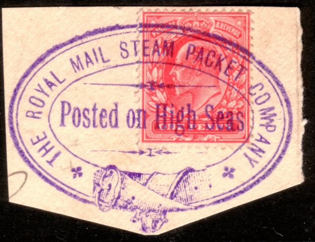 1911 1d Tied Royal Mail Steam Packet Co