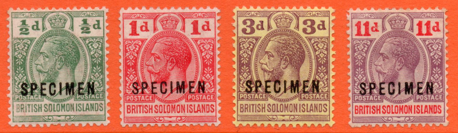 British Solomon Islands GV 1913 SPECIMEN Set ½d - 11d (Four Values)