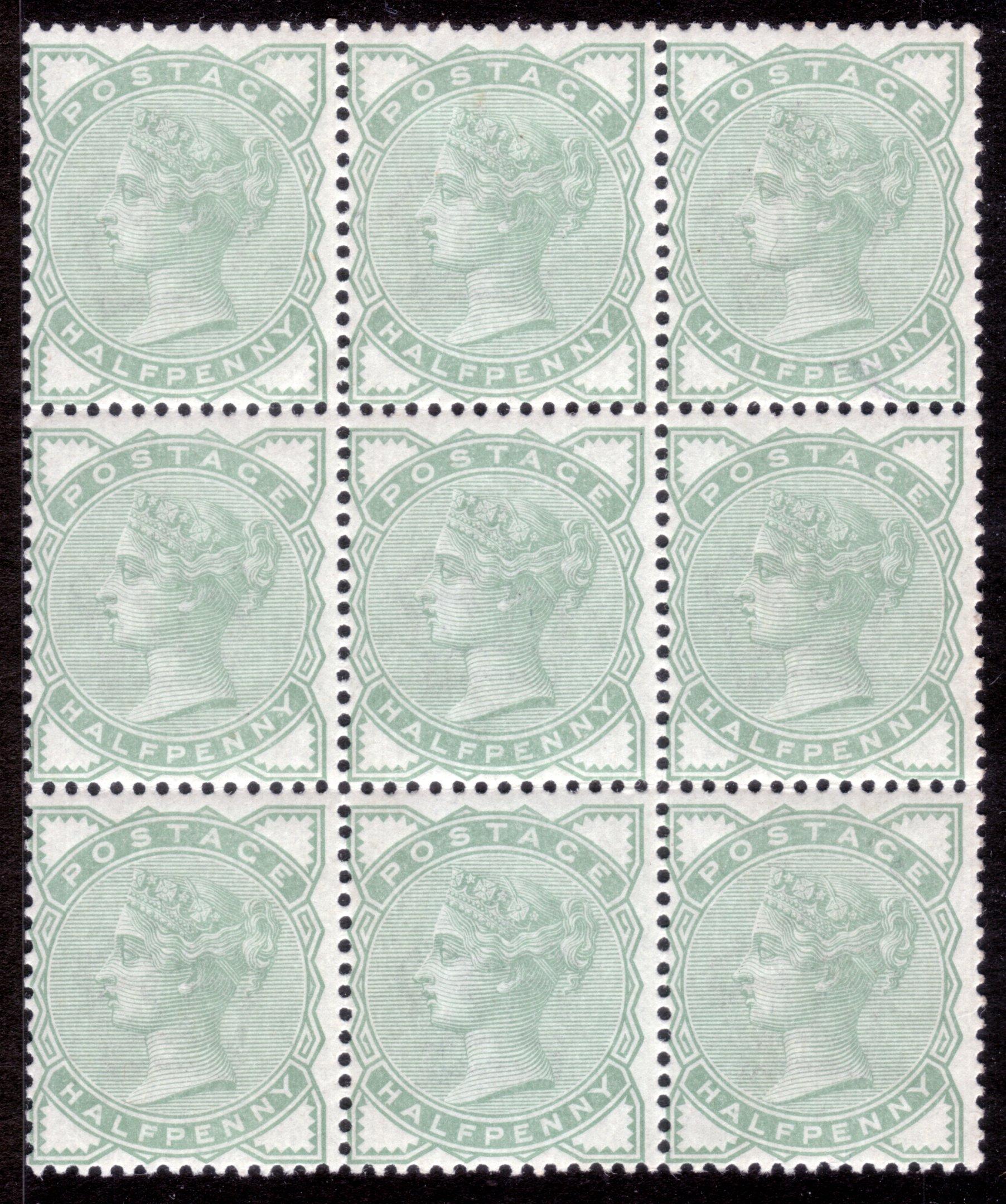 1880 ½d Pale Green Mint Block Nine
