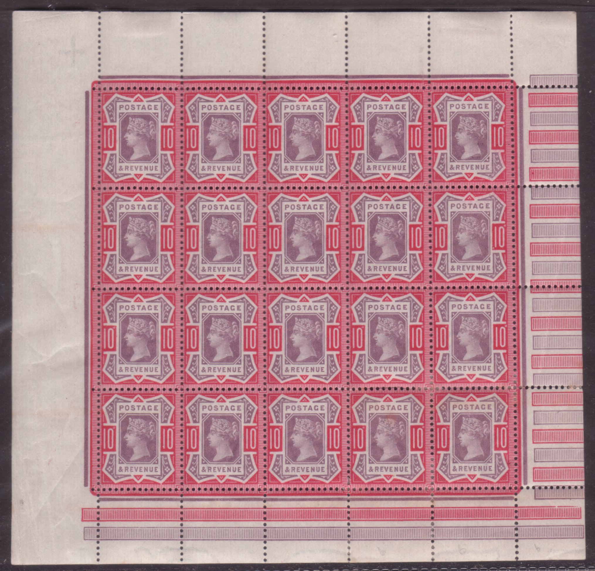 1890 10d Purple & Carmine Full Mint Pane with Variety - SOLD