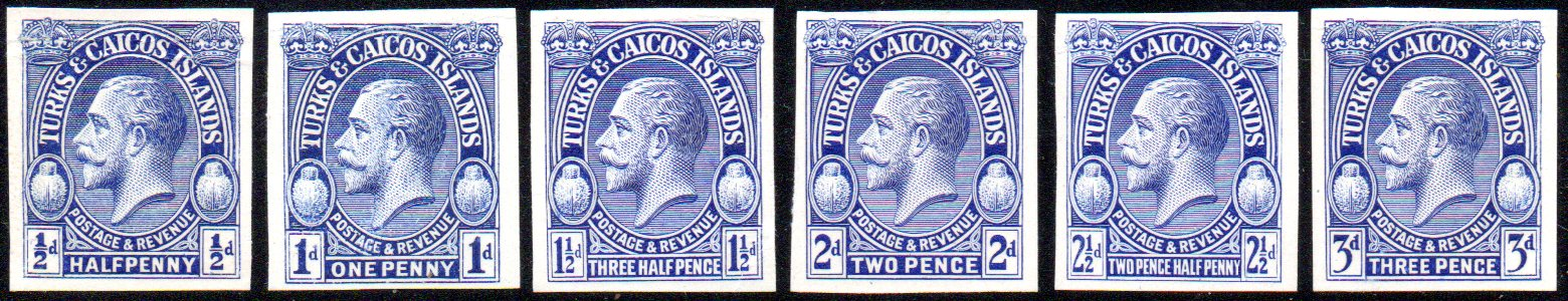 Turks & Caicos Islands - King George V 1928 Set of Imperforate Plate Proofs in Ultramarine Halfpenny to 3d - SG176/181var