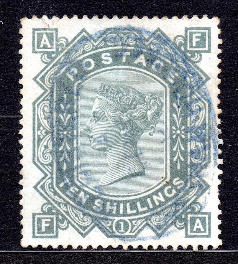 1883 10/- SG 131 (Wmk. Anchor, Blued Paper) SUPERB BLUE OVAL CDS Lettered FA