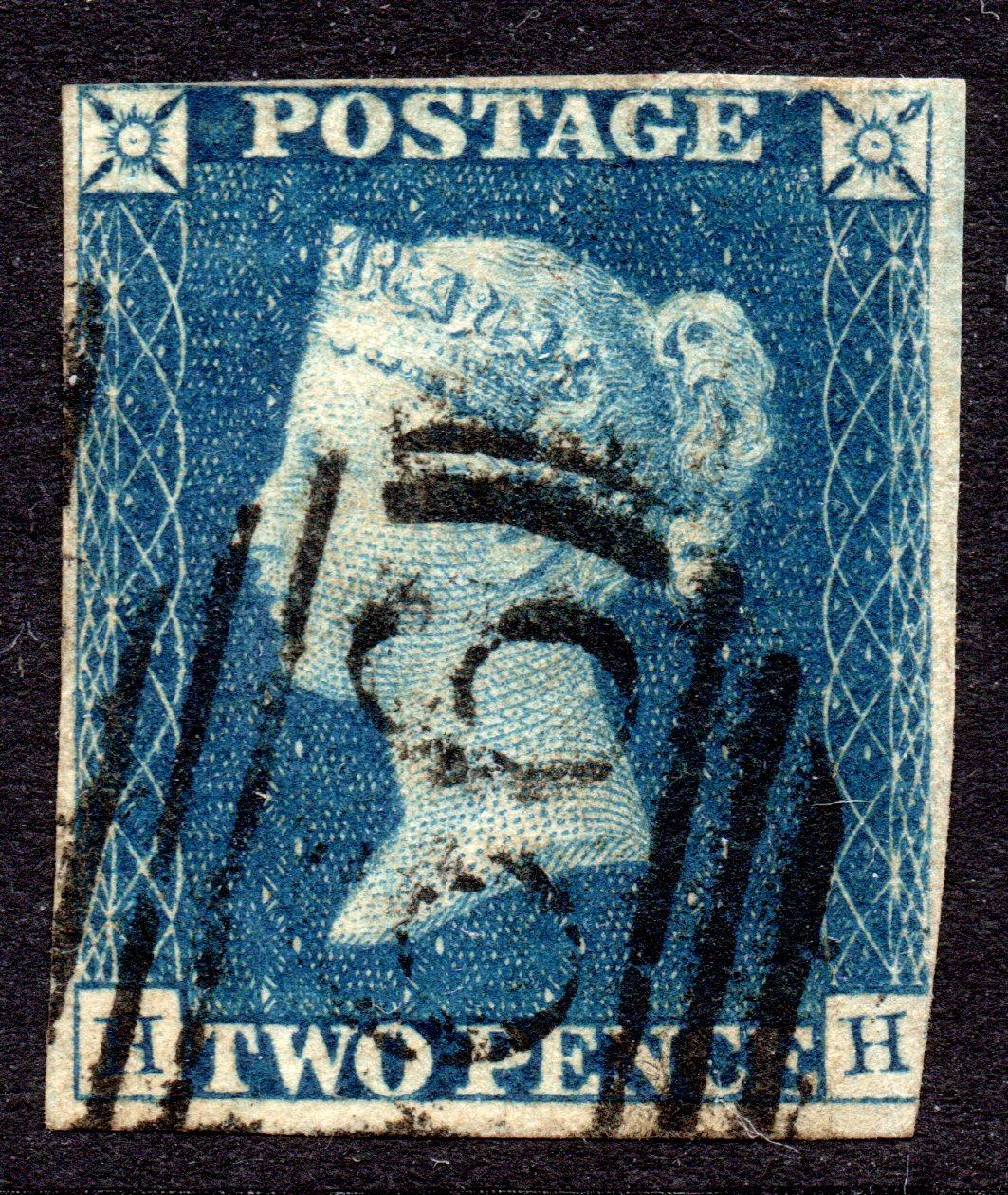 1840 2d Deep Blue Plate 1 - SCARCE 1844 NUMERAL - SG Cat £1700+