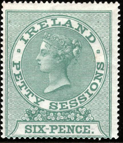 Queen Victoria Ireland Petty Sessions 6d Green Superb UM